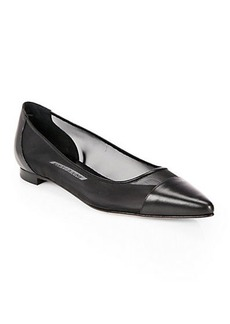 Manolo Blahnik Mesh & Leather Cap-Toe Ballet Flats