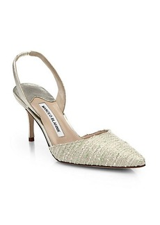 Manolo Blahnik Metallic Leather & Bouclé Fabric Slingbacks