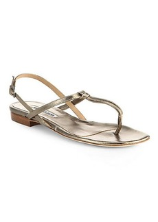Manolo Blahnik Metallic Leather Slingback Sandals