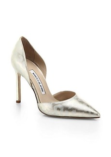 Manolo Blahnik Metallic-Printed Patent Leather D'Orsay Pumps