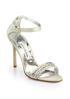Manolo Blahnik Metallic Suede Ankle-Strap Sandals