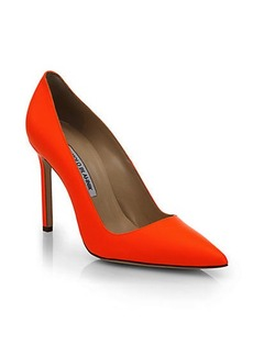 Manolo Blahnik Nappa Neon Leather Point Toe Pumps