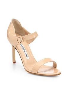 Manolo Blahnik Nellang Patent Leather Mary Jane Sandals