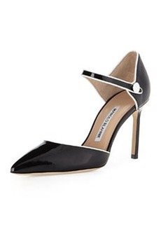 Manolo Blahnik Norva Patent Ankle-Strap Mary Jane Pump, Black/White