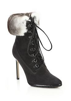Manolo Blahnik Oklamod Suede & Rabbit Fur Timberland Booties