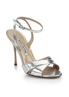 Manolo Blahnik Orlana Metallic Leather Ankle-Strap Sandals