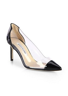Manolo Blahnik Pacha Patent Leather Cap-Toe Pumps