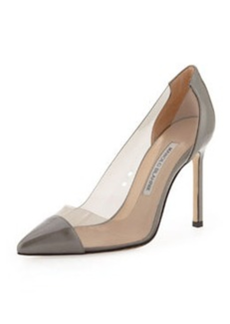 Manolo Blahnik Pacha PVC Cap-Toe Pump, Gray/Smoke