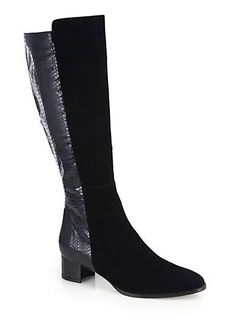 Manolo Blahnik Pampa Snakeskin & Suede Knee-High Boots