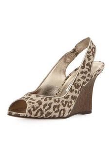 Manolo Blahnik Panto Printed Linen Wedge Sandal, Leopard