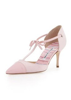 Manolo Blahnik Parigatam T-Strap Bow Pump, Pink