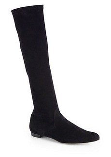 Manolo Blahnik Pascalare Stretch-Suede Knee-High Boots