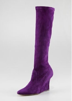 Manolo Blahnik Pascalare Tall Stretch Suede Wedge Boot, Eggplant