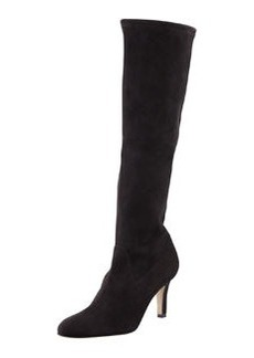 Manolo Blahnik Pascaputre Suede Knee Boot, Charcoal Gray