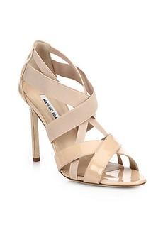 Manolo Blahnik Patent & Elastic Strappy Sandals