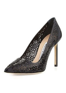 Manolo Blahnik Patent Laser Cut Pump, Black