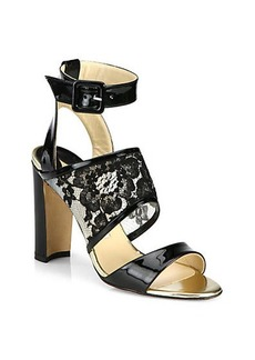 Manolo Blahnik Patent Leather & Lace Sandals