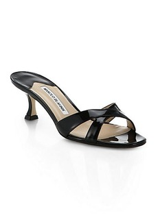 Manolo Blahnik Patent Leather Crisscross Mules