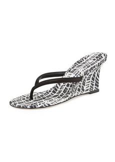 Manolo Blahnik Patwedfac Printed Thong Wedge Sandal