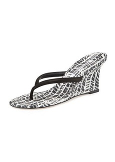 Manolo Blahnik Patwedfac Printed Thong Wedge Sandal, Black/White