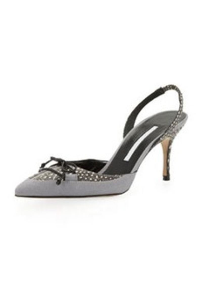 Manolo Blahnik Perax Snakeskin Bow Halter Pump, Light Gray