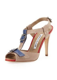 Manolo Blahnik Persefa Buckled T-Strap Sandal, Taupe/Blue/Red