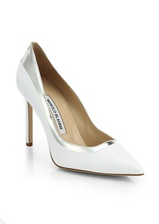Manolo Blahnik Pretati Bicolor Leather Pumps