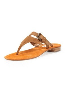 Manolo Blahnik Primona Suede Thong Sandal, Tan/Orange
