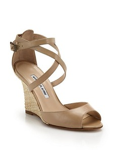 Manolo Blahnik Raffia-Wedge Leather Sandals