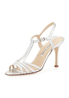 Manolo Blahnik Rebuf Metallic Leather Sandal, Silver