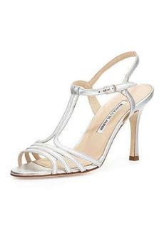 Manolo Blahnik Rebuf Metallic T-Strap Sandal, Silver