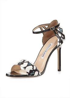 Manolo Blahnik Riah Snakeskin Ankle-Strap Sandal