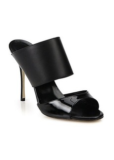 Manolo Blahnik Ripta Patent Leather & Leather Mule Sandals
