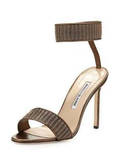 Manolo Blahnik Roccmet Chain Ankle-Wrap Sandal, Bronze