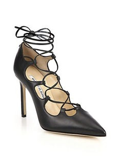 Manolo Blahnik Rogustta Lace-Up Leather Pumps
