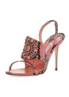 Manolo Blahnik Ronda Jeweled Snakeskin Sandal, Pink