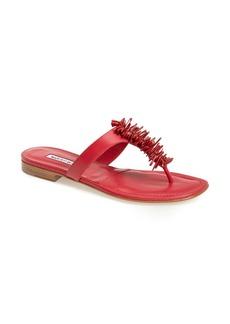 Manolo Blahnik 'Royal Stone' Leather Thong Sandal (Women)