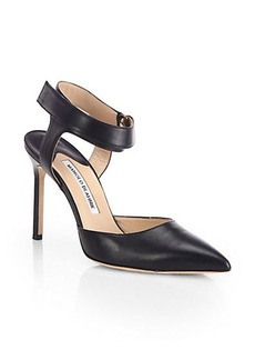 Manolo Blahnik Ruru Leather Ankle-Strap Pumps