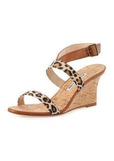 Manolo Blahnik Sales Crisscross Leopard-Print Leather Cork Wedge