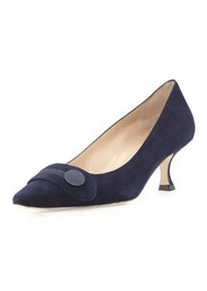Manolo Blahnik Scani Suede Button Pump, Navy