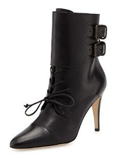 Manolo Blahnik Secunda Lace-Up Ankle Boot, Black