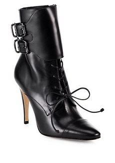 Manolo Blahnik Secunda Leather Booties