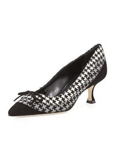 Manolo Blahnik Sfida Houndstooth Pump, Black/Gray