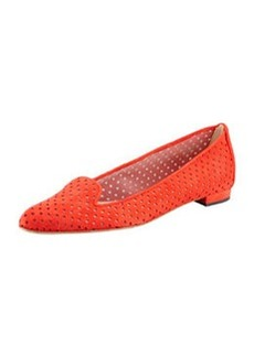 Manolo Blahnik Sharifac Perforated Suede Flat, Red