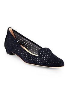 Manolo Blahnik Sharifpefac Perforated Suede Loafers