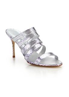 Manolo Blahnik Sifi Metallic Snakeskin Mule Sandals