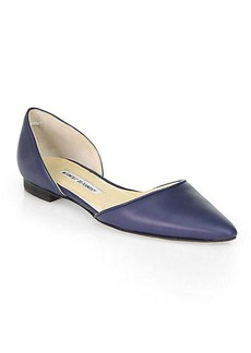 Manolo Blahnik Soussaba Leather D'Orsay Flats