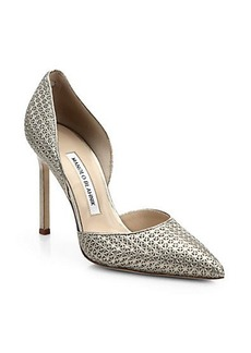 Manolo Blahnik Star-Stamped Metallic Leather D'Orsay Pumps