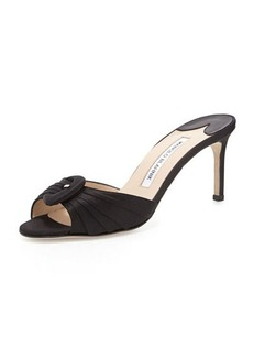 Manolo Blahnik Stara Satin Buckle Slide, Black