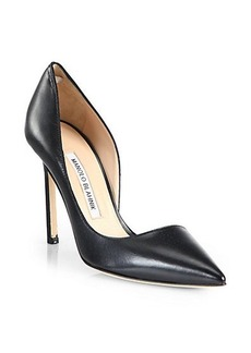 Manolo Blahnik Stresty Leather Point-Toe Pumps